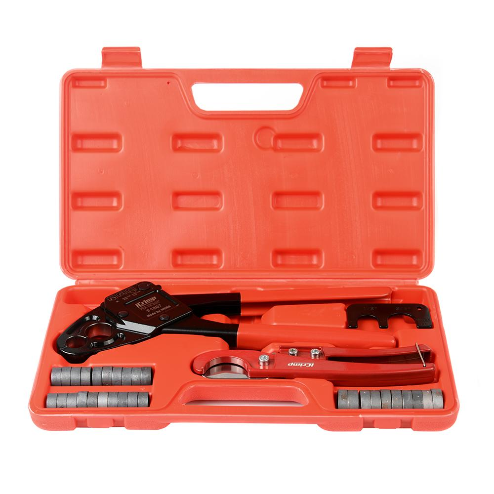 "1/2""&3/4"" Angel Combo PEX Pipe Crimping Tool Set with Copper Rings&Cutter&Gauge for All US F1807 Standards- Portable Case"