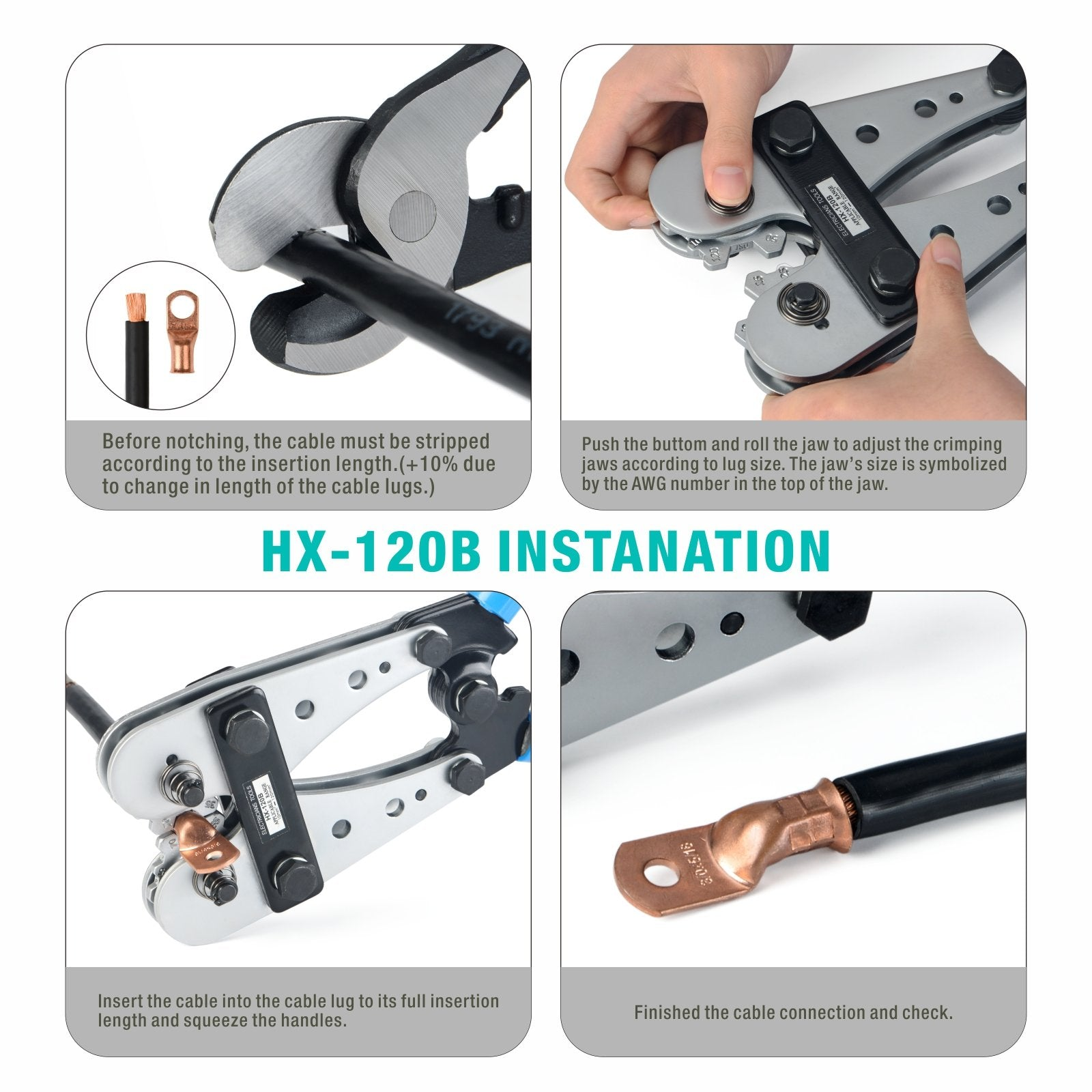 HX-120B Cable Lug Crimper for 10-120mm²