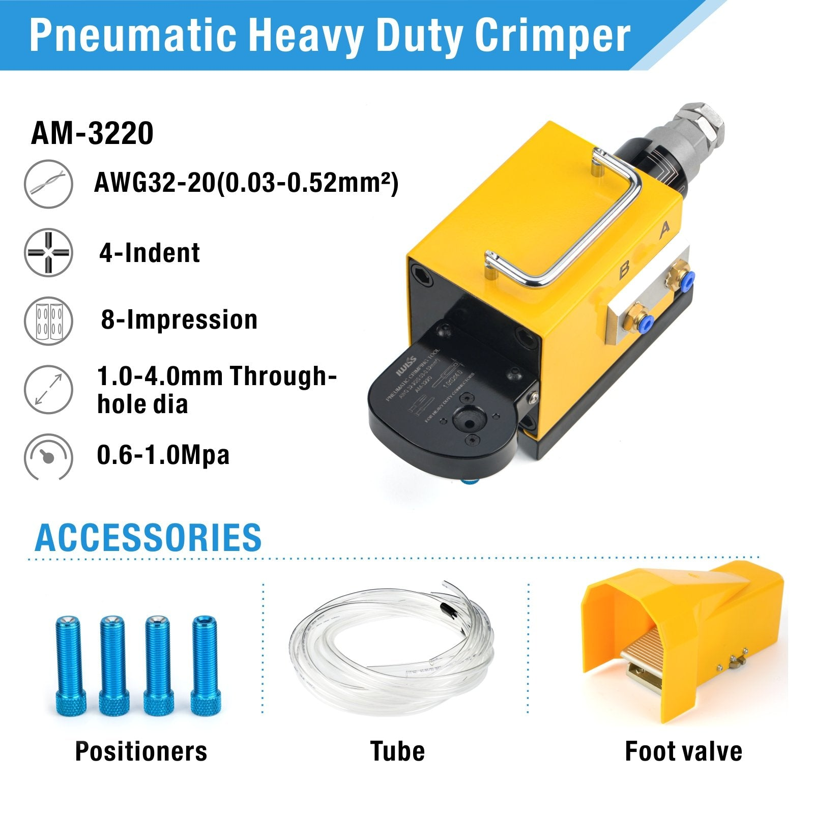 AM-3220 Pneumatic Crimping Machine for Solid Contacts and Heavy Duty Contacts AWG32-20