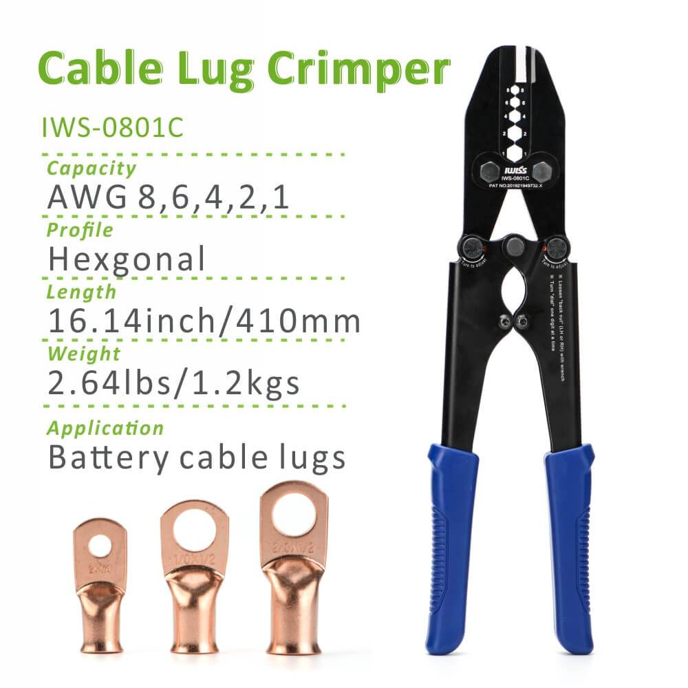 IWS-0801C Battery Cable Lug, Copper Ring Terminal Crimper for AWG 8-1