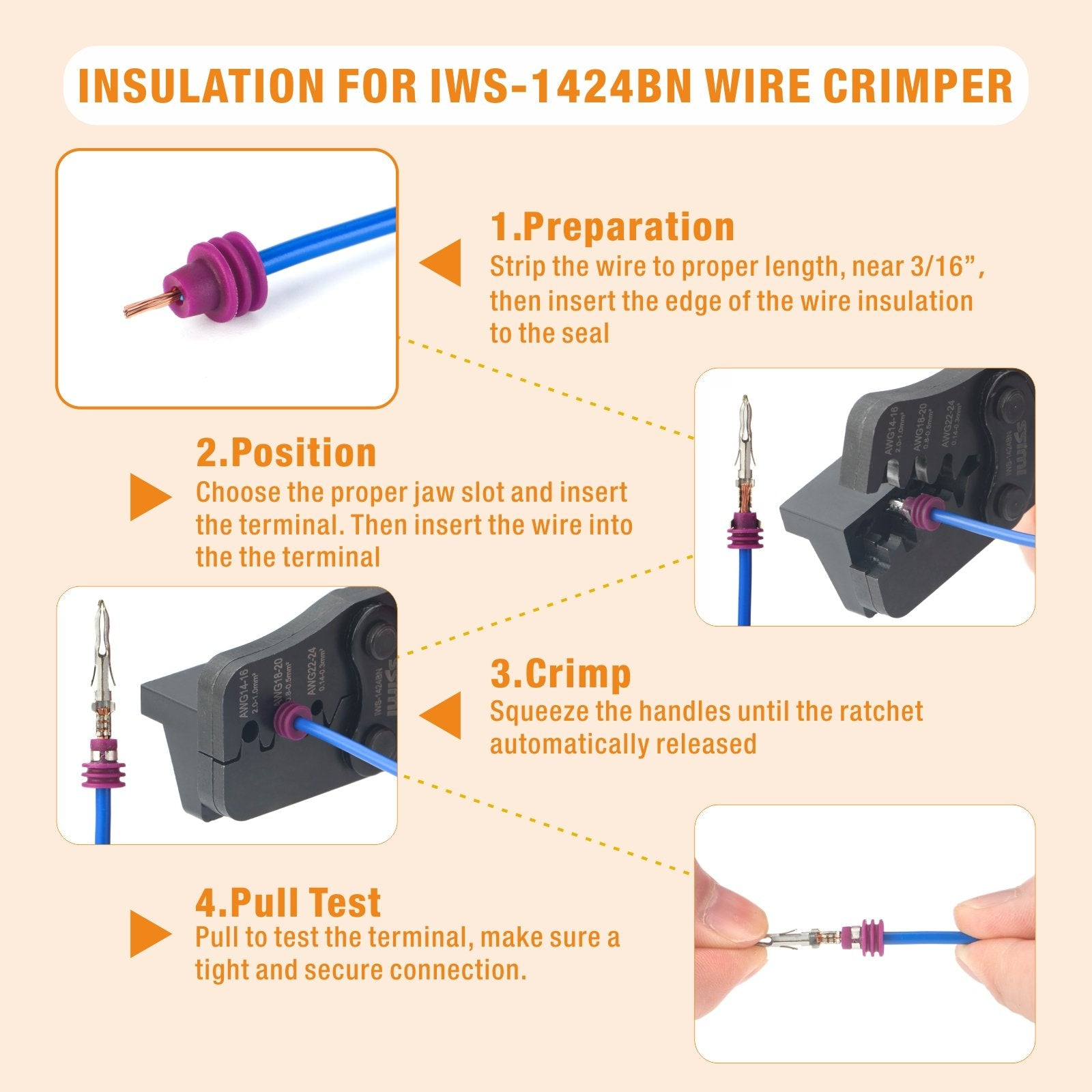 One Step Weather Pack Crimp Tool for AWG 24-14