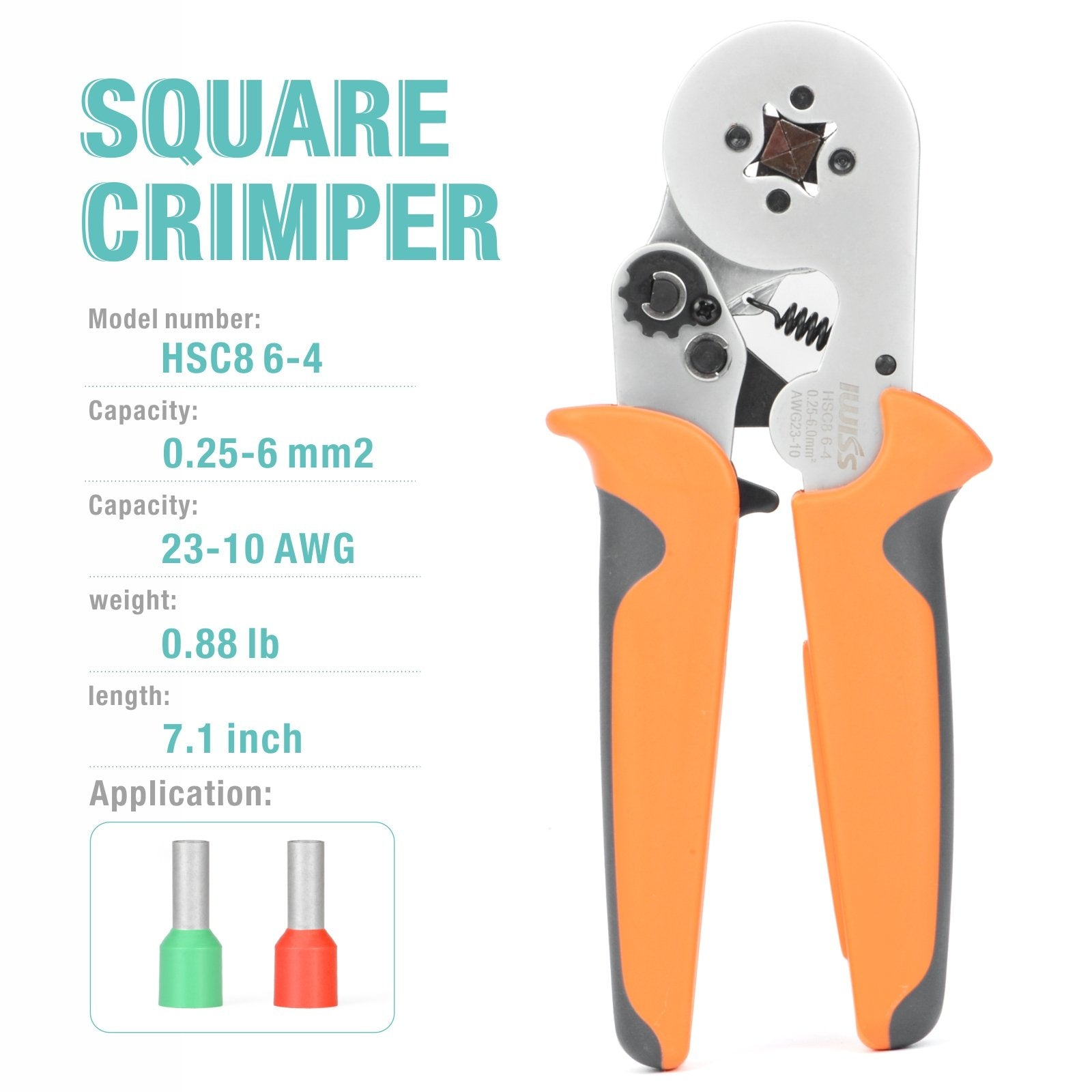 HSC8 6-4 Square Type Ratchet Crimping Tools for 0.25-6.0mm² End Sleeves