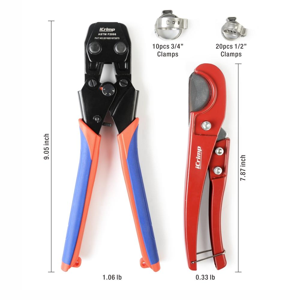 "Mini PEX Pipe Quick Cinch Tool Set for Stainless Steel Clamp from 3/8"" to 1"" with Pex Cutter -CRP961"