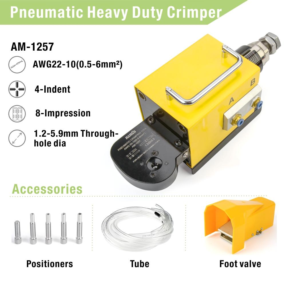 AM-1257 Pneumatic Crimping Machine for Solid Contacts and Heavy Duty Contacts AWG22-10