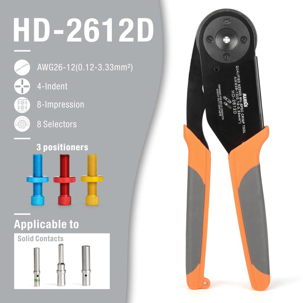 HD-2612D Solid Contacts Crimping Tool AWG 26-12 for Detusch Contact Size 12,16,20 applicable to DT,DTP,DTM serie