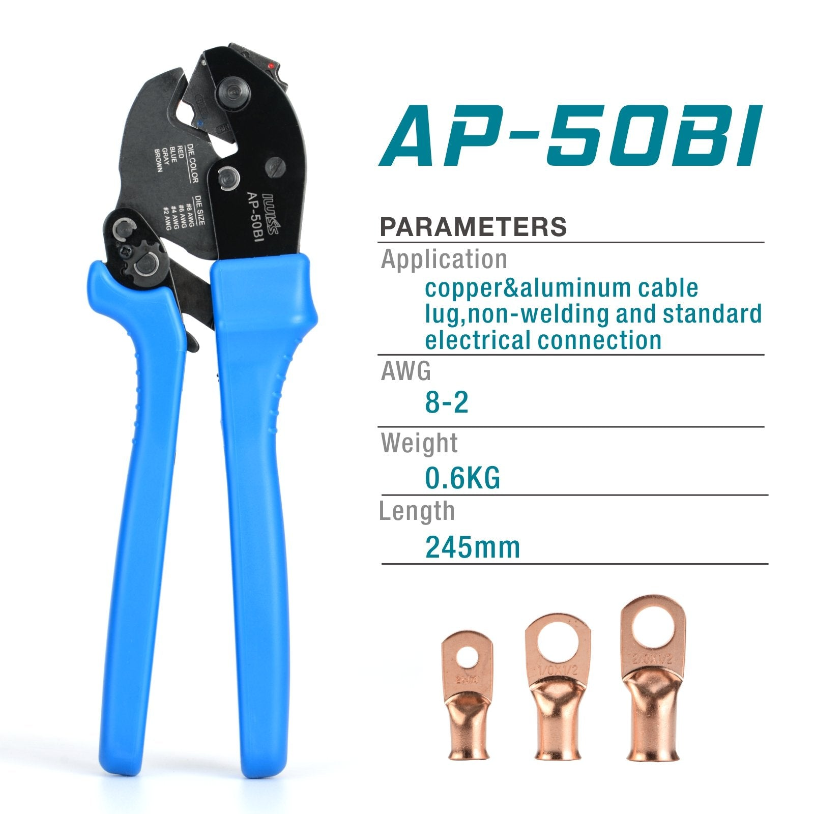 AP-50BI Cable Crimper for Copper Cable Lugs from 8-2AWG
