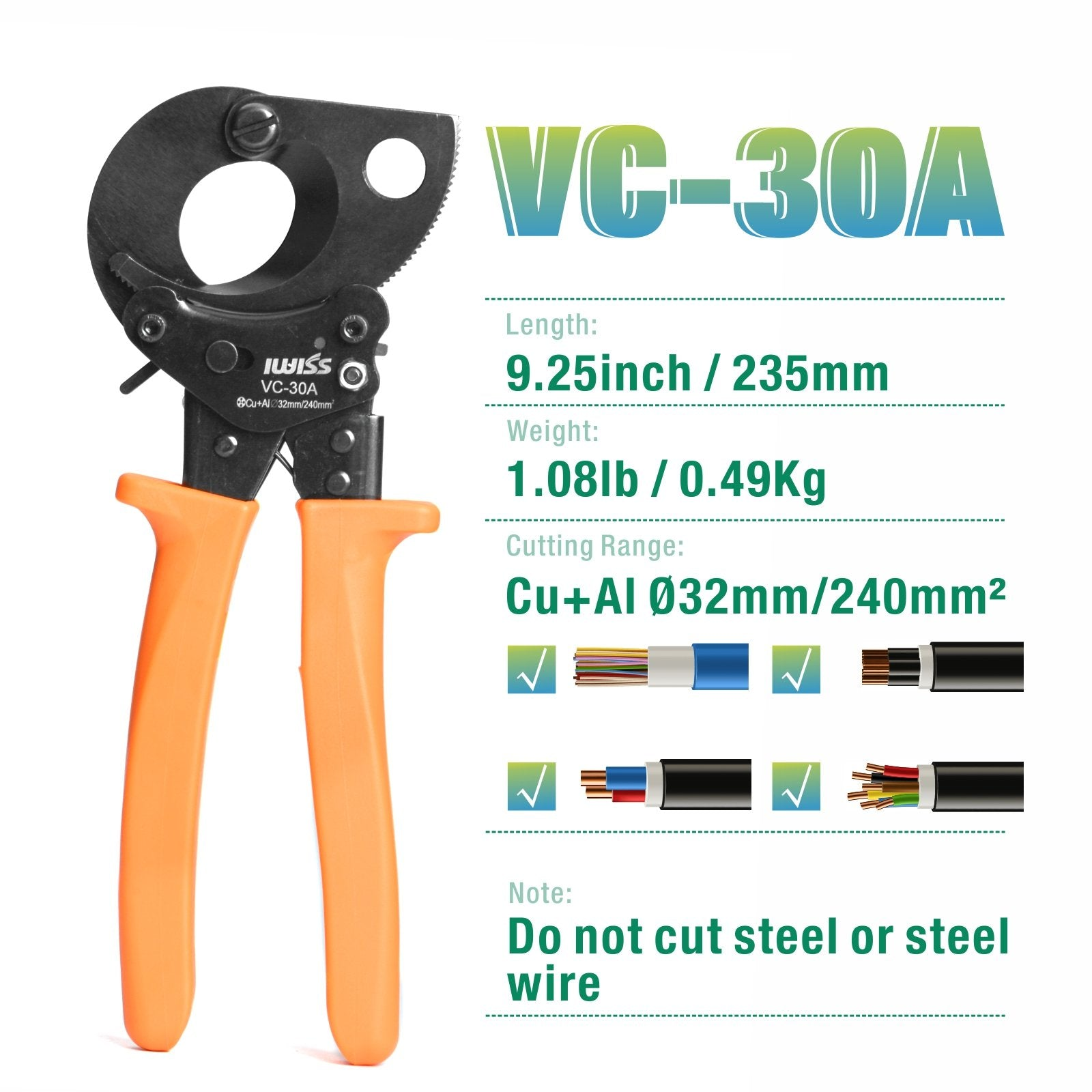 Ratechet Copper&Aluminum Cable Cutter Up To 240mm²/dia 32mm
