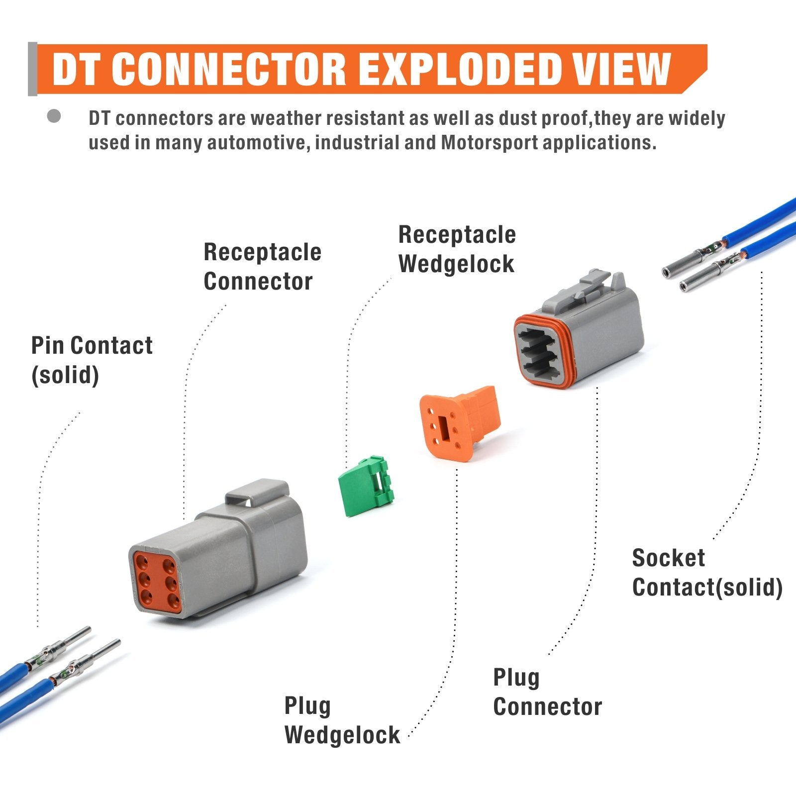 DT Connector Kit 518pcs include 2 3 4 6 8 12 Housings and Pin & Socket Sealed Terminals for 20-14 Gauge
