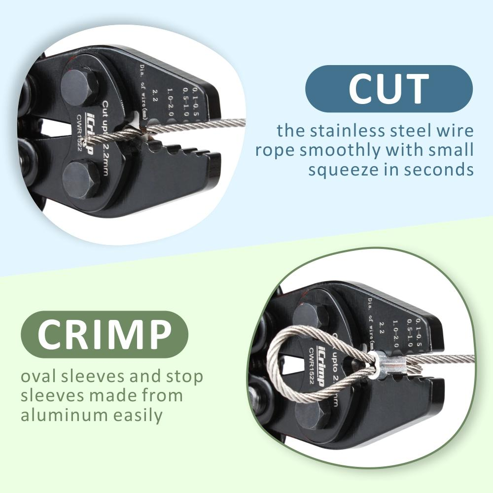 CWR1522 Wire Rope Tool Set for Cable Railing, Hand Swaging-Crimp&Cut-with 150pcs Aluminum Sleeves --CWR1522 Set