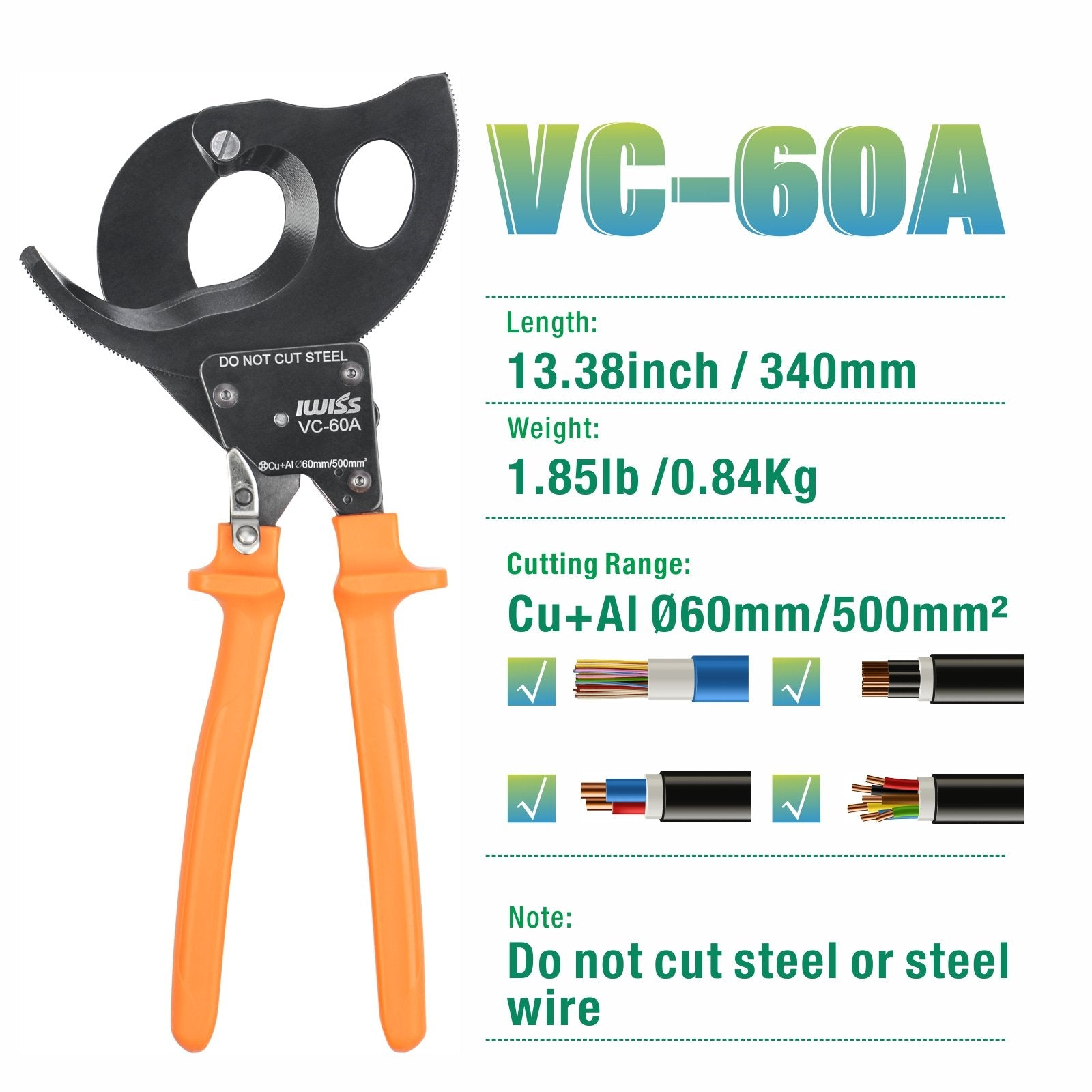 Ratechet Copper&Aluminum Cable Cutter Up To 500mm²/dia 60mm