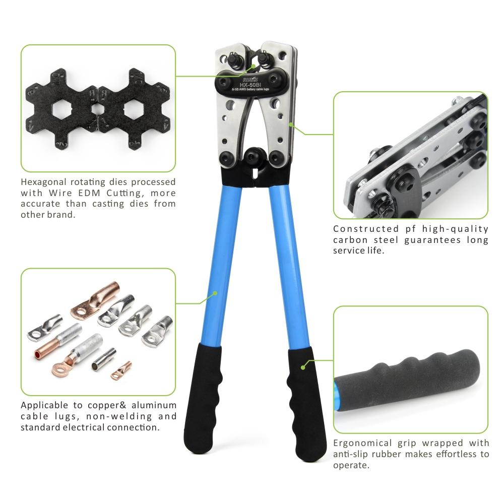 Wire Terminal Crimping Tool 6-50mm² Cable Lug Crimper Cu/Al Terminal Ratchet Electrician Plier (AWG10-1/10)