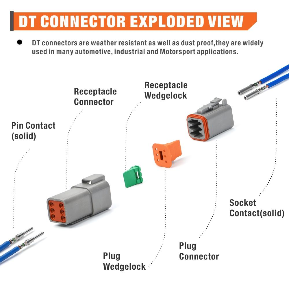 DT Connector Kit 126pcs include Crimper,2 3 4 6 8 Housings and Pin & Socket Sealed Terminals, for 20-14 Gauge