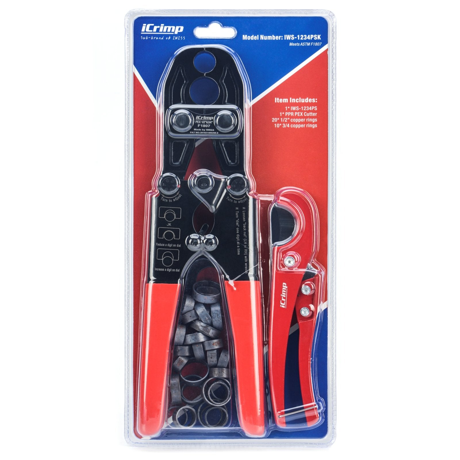 ASTM F1807 1/2 and 3/4-inch Dual PEX Crimper w/Copper Rings,PEX Cutter and Gauge