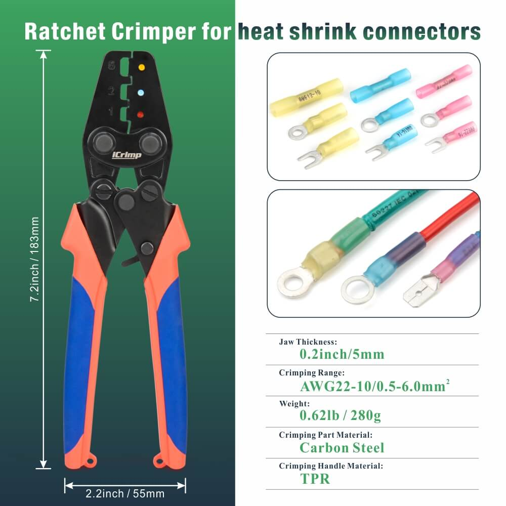 iCrimp Handy Ratchet Wire Crimping Tool, for AWG22-10 Heat Shrink Connectors