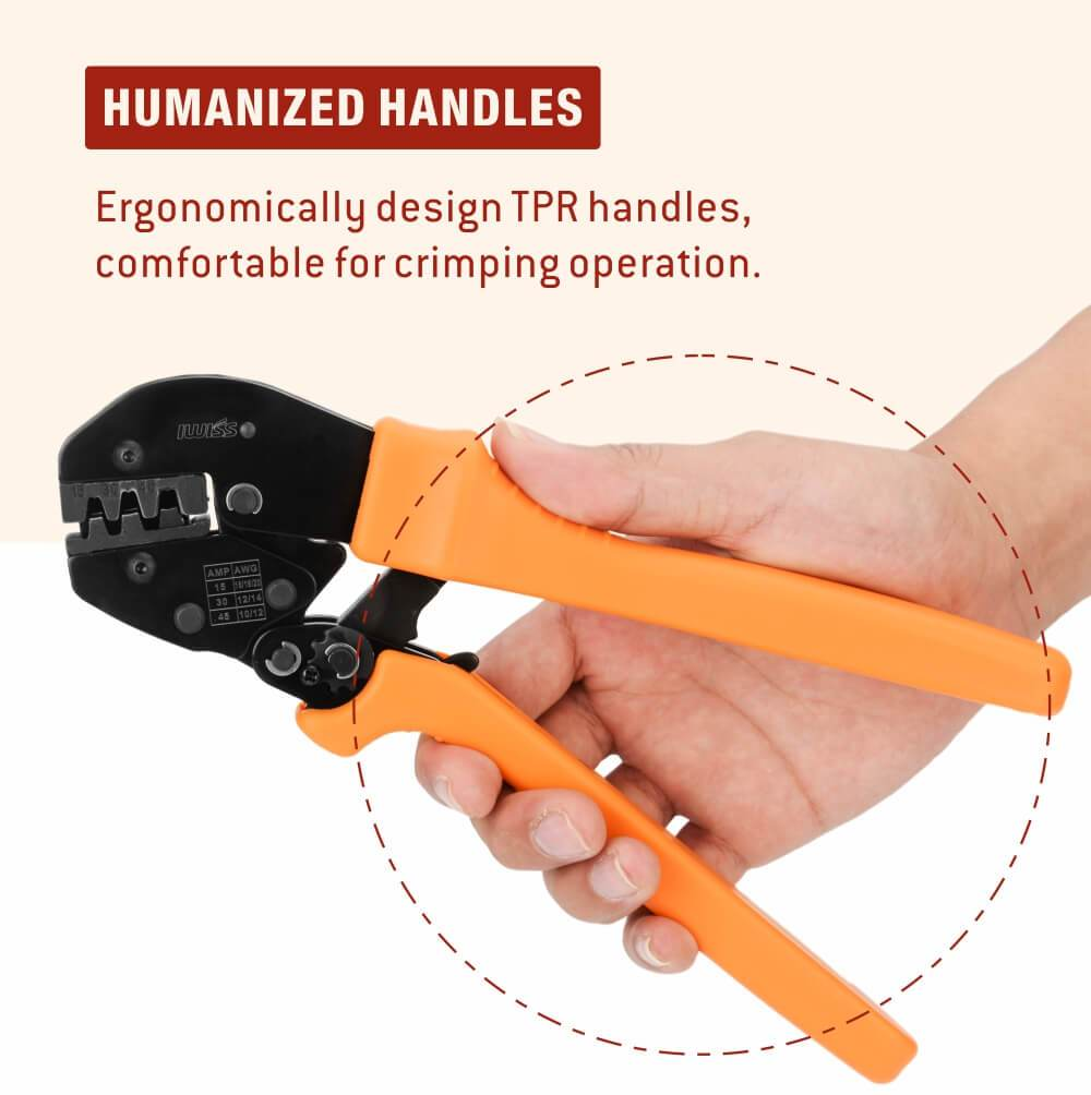 IWISS Ratcheting Crimping Tool humanized handles