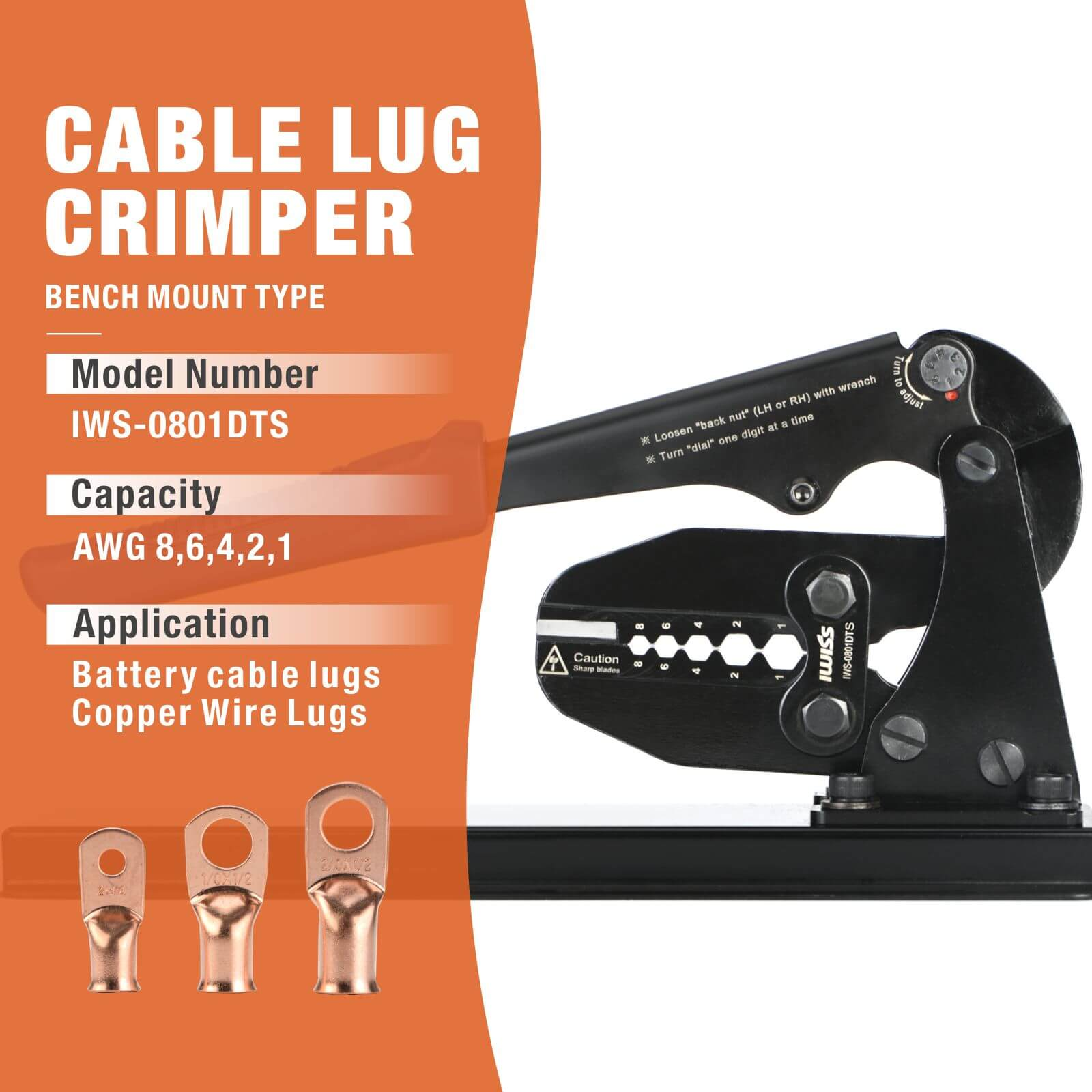 Battery Cable Lug Bench Mount Type Crimper with Built-in Cutter for AWG 8-1
