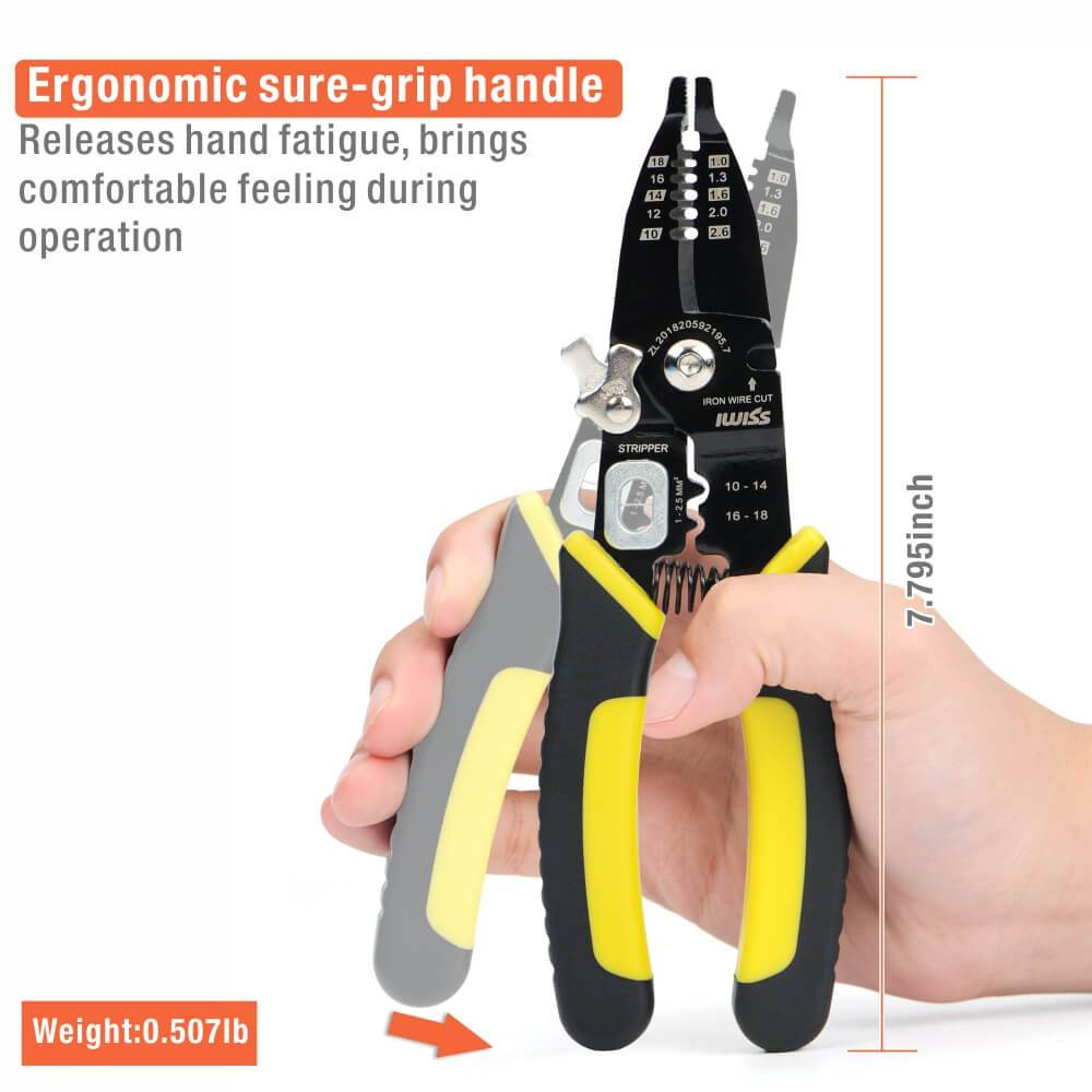 Long Nose Wire Stripping Crimping Tool with Cutting Function for AWG18-14