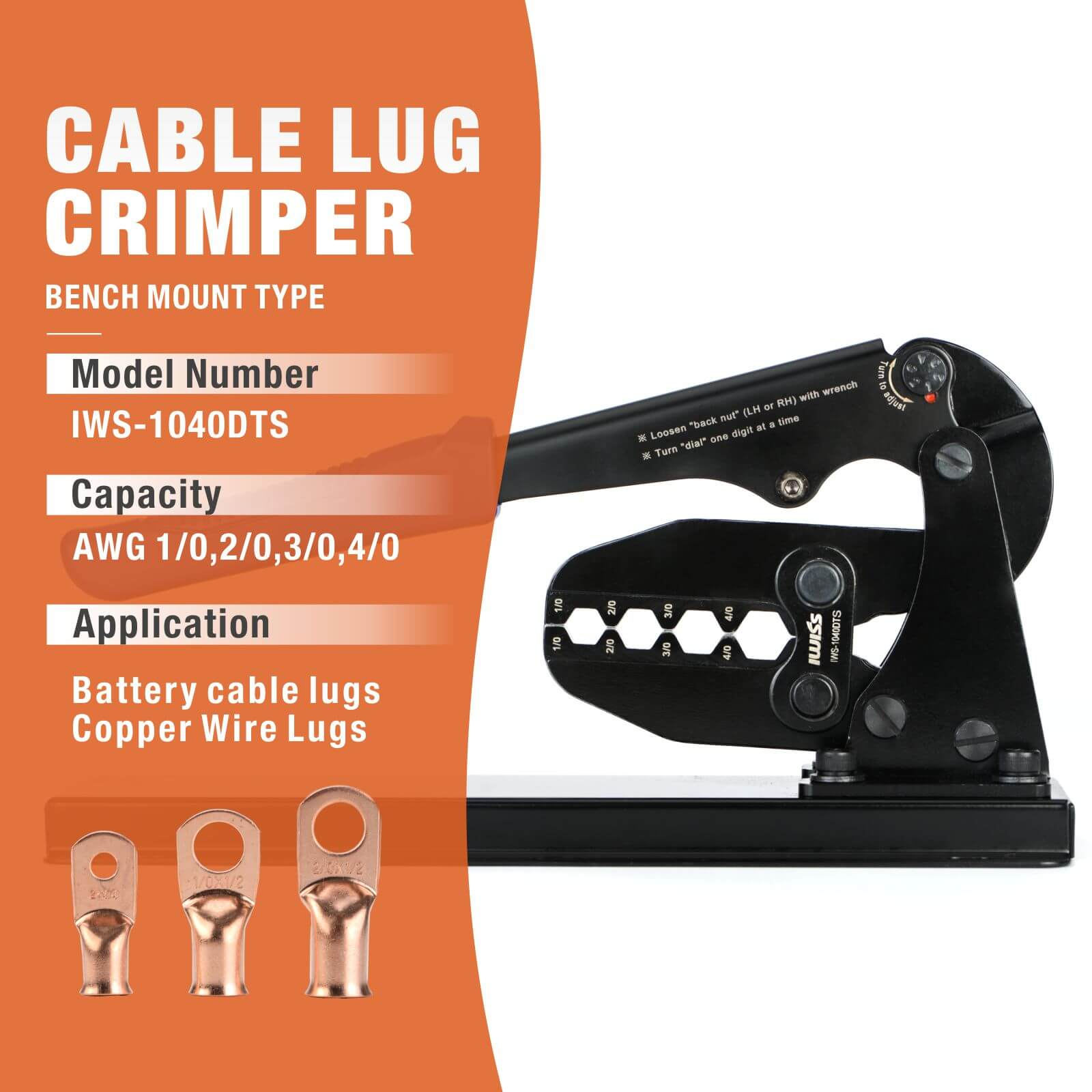 Bench Mount Type Cable Lug Crimper For Battery Cable Lugs AWG 1/0, 2/0, 3/0, 4/0