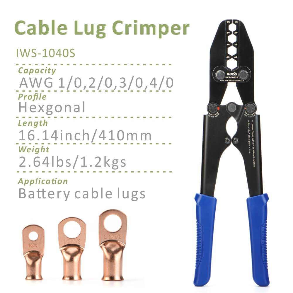 IWS-1040S Battery Cable Lug , Copper Ring Terminal Crimper for AWG 1/0-4/0