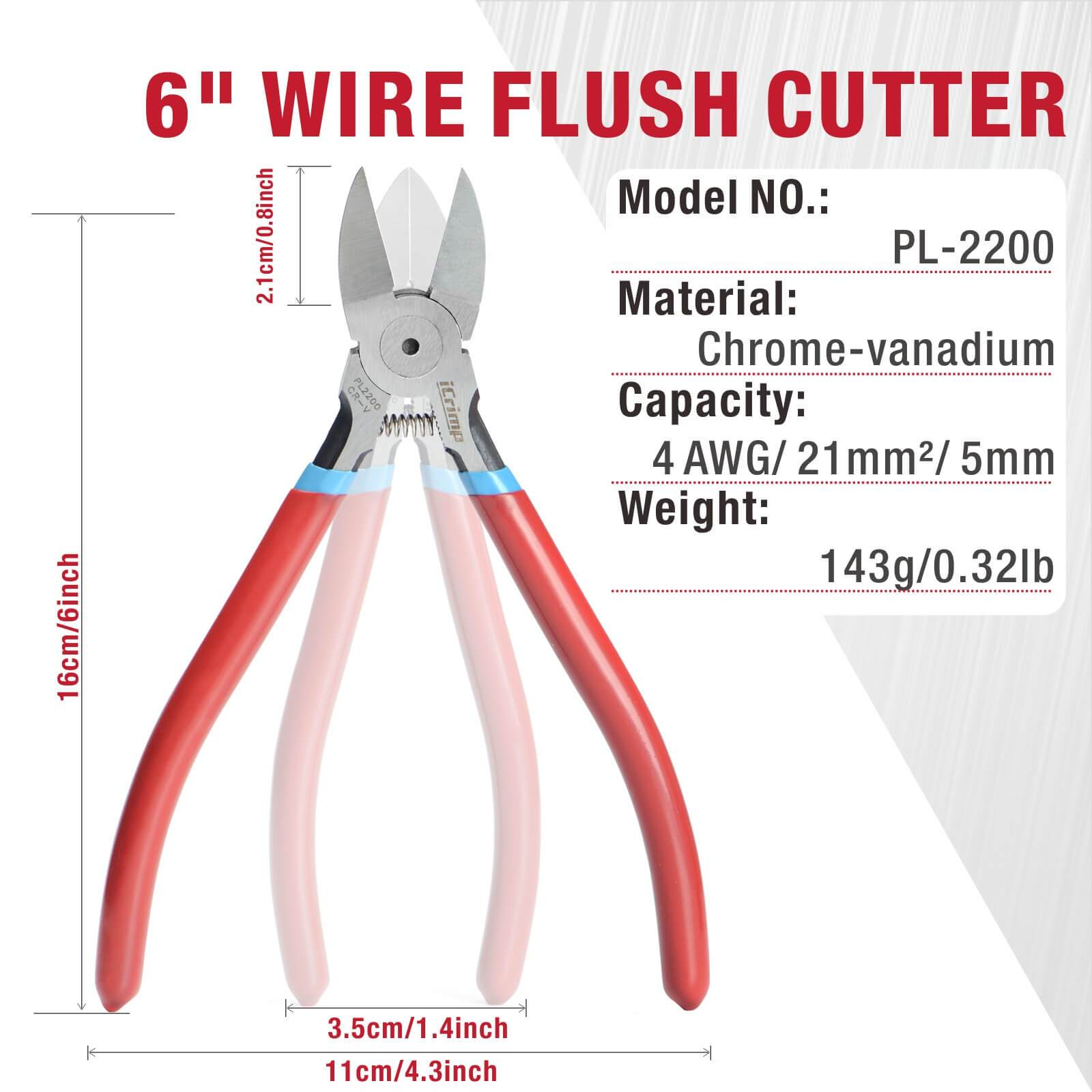 Wire Flush Cutter, Precision Side Cutting Plier for Cutting Electronics, Wires, Soft Copper, Zip Ties-6 inch