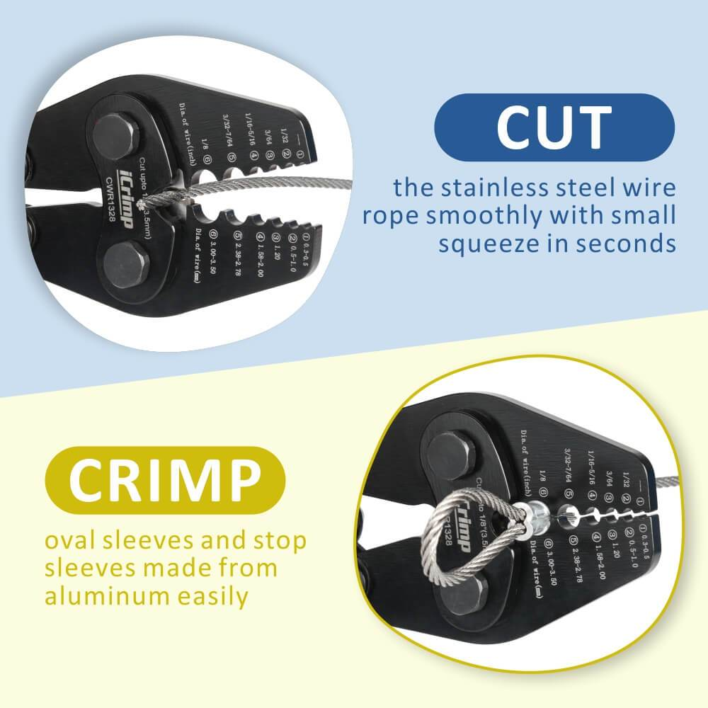 iCrimp CWR1328 Wire Rope Crimping Tool with Cutting Function for 1/32~1/8-inch Aluminum Sleeves