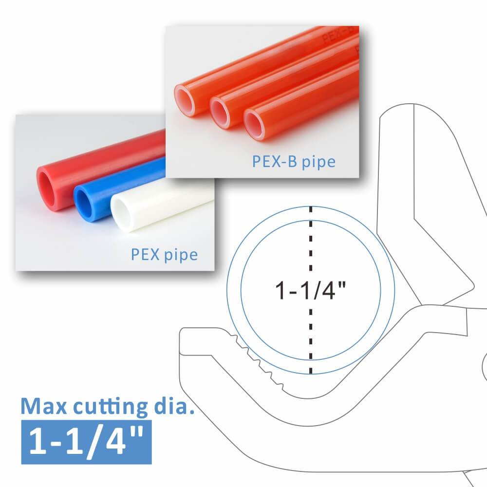 "Pipe Cutter for PEX and PEX-B Pipe from 1/8"" to 1-1/4"""