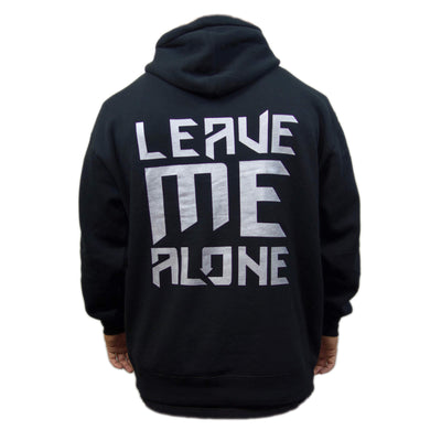 Leave Me Alone Hoodie (Metallic Silver on Black)(Heavyweight)(Clearance)