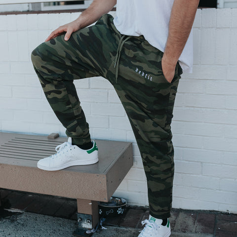 Green Camo Joggers Standing