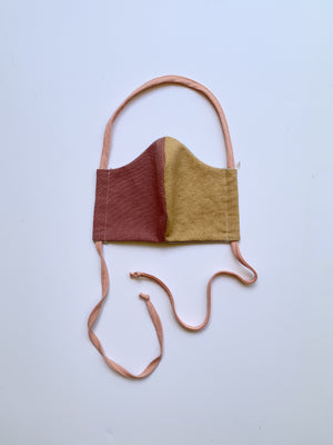 Cloth Mask in Cranberry and Gold