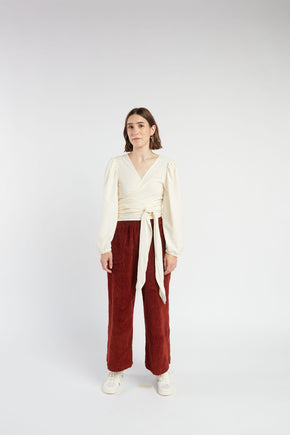 Mia wrap Top in Ivory