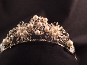 Pearl and Rhinestone Brooches Tiara