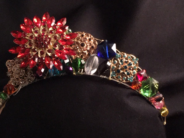 Red Brooch on the Side Tiara
