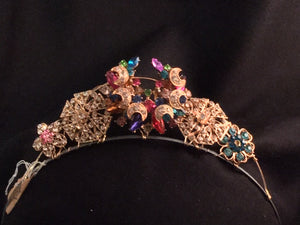 Crescent Multicolored Brooch Tiara