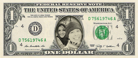 "dollar bill from You're on the Money with a picture of two female friends on it with the caption ""BFF's 4Ever"""
