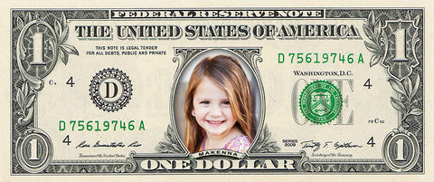 dollar bill from You're on the Money with a picture of a young girl smiling on it