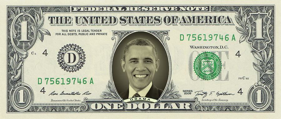 President Obama on a REAL Dollar Bill (Classic Dollar Bill Green)