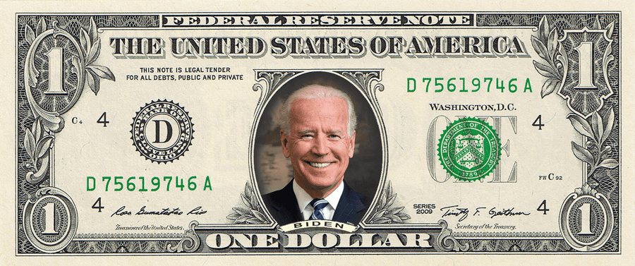 Joe Biden on a REAL Dollar Bill (Full Color)