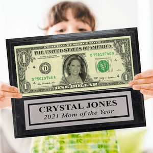 A REAL Dollar Bill Plaque with Your Photo, Name, and Engraved Plate