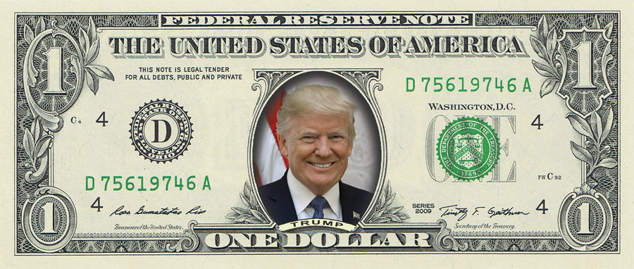 Donald Trump (smiling) on a REAL Dollar Bill (Full Color)