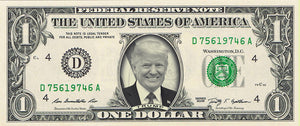 Donald Trump (smiling) on a REAL Dollar Bill (Classic Dollar Bill Green)