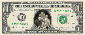 dollar bill from You're on the Money with a picture of a dad, mom, son, & daughter on it