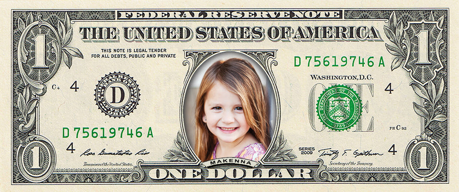 A Custom Dollar Bill: A REAL Dollar Bill with Your Name & Photo