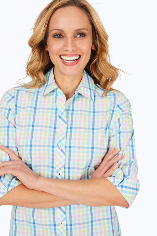 Foxcroft Pastel Plaid Button Down