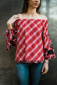 Sharon Young Red Off the Shoulder Top