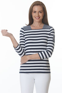 ELI Navy White Stripe Top