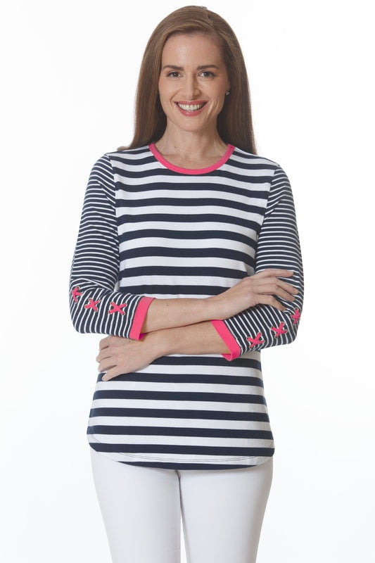 ELI Criss Cross Stripe Top