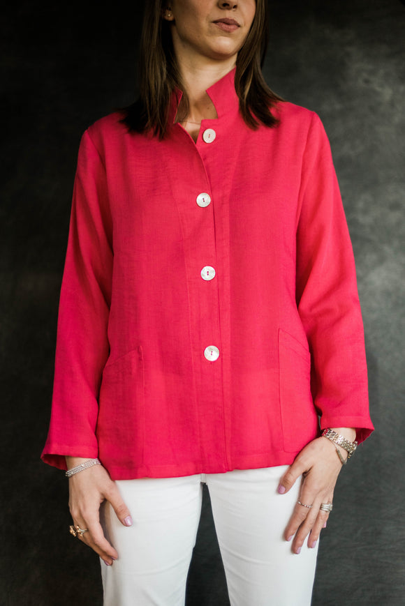 Fridaze Linen Fuchsia Button Down