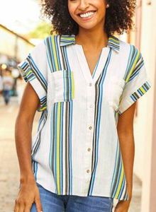 Tribal Key Lime Cap Sleeve Blue Stripe Blouse