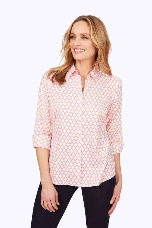 Foxcroft Coral Print Button Down