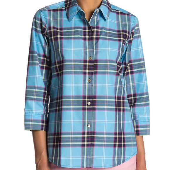 Foxcroft Blue Plaid Button Down